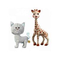 Sophie La Girafe Set Το Πρώτο Παιχνίδι Του Μωρού Που Διεγείρει Όλες Τις Αισθήσεις & Λούτρινη Γκρι Γατούλα 0Μ+