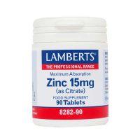 Lamberts Zinc 15mg (As Citrate) Συμπλήρωμα Διατροφής 90 Ταμπλέτες