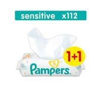 Pampers Sensitive Μωρομάντηλα 56τμχ 1+1 Δώρο