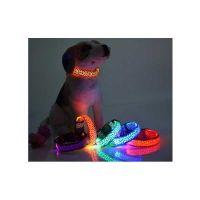 Pet Κολάρο Σκύλου Με Φως Led Σχέδιο Πορτοκαλί-Λεοπάρ, Μέγεθος M, 2.5cm*38-50cm