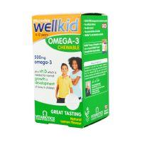 Vitabiotics Wellkid Omega-3 Plus Vitamin D Συμπλήρωμα Διατροφής Για Παιδιά 4-12 Ετών 60 Μασώμενες Κάψουλες