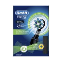 Oral-B Pro 750 3D Cross Action Black Edition Επαναφορτιζόμενη Ηλεκτρική Οδοντόβουρτσα Με Θήκη Ταξιδίου