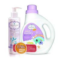 Pharmasept Baby Care Set Με Απαλό Υγρό Απορρυπαντικό Για Βρεφικά Ρούχα 30 Πλύσεις 1000ml & Εξαιρετικά Απαλό Βρεφικό Αφρόλουτρο Σώματος/Μαλλιών Για Ευαίσθητο Δέρμα 250ml