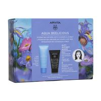 Apivita Aqua Beelicious Set Με Oil-Free Κρέμα-Τζελ Ενυδάτωσης Ελαφριάς Υφής Με Λουλούδια & Μέλι 40ml & Δώρο Μαύρο Τζελ Καθαρισμού Προσώπου/Ματιών Με Ενεργό Άνθρακα & Πρόπολη 50ml & Κορδέλα Μαλλιών