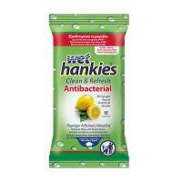 Mega Wet Hankies Aντιβακτηριδιακά Μαντηλάκια με Aιθυλική Aλκοόλη & Άρωμα Λεμόνι 15τμχ