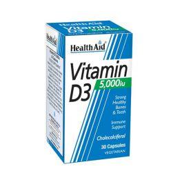 Health Aid Vitamin D3 5000IU Συμπλήρωμα Διατροφής Για Το Ανοσοποιητικό, Τα Οστά & Τα Δόντια 30 Κάψουλες