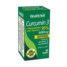 Health Aid Superfoods Curcumin 3 Standarised With Piperine 95% 600mg Vegan 30 Ταμπλέτες