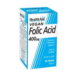 Health Aid Folic Acid 400mg Απαραίτητο Κατά Την Εγκυμοσύνη Vegan 90 Ταμπλέτες