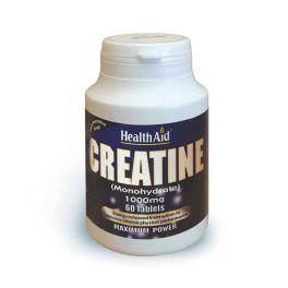Health Aid Creatine Monohydrate 1000mg Κρεατίνη Για Μυϊκή Μάζα 60 Ταμπλέτες
