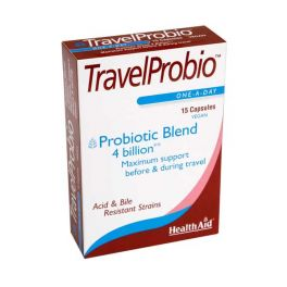 Health Aid TravelProbio Προβιοτικά 4 Δις με Πρεβιοτικά 15 Κάψουλες