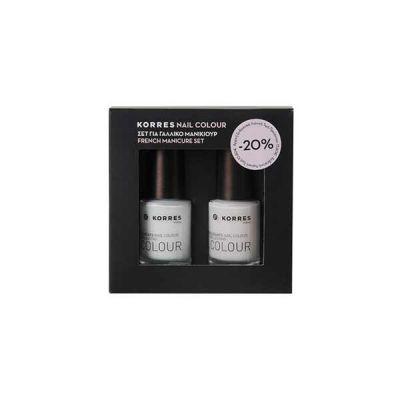 Korres Set Γαλλικού Μανικιούρ (00 White 10ml και 08 Candy Scallop 10ml)