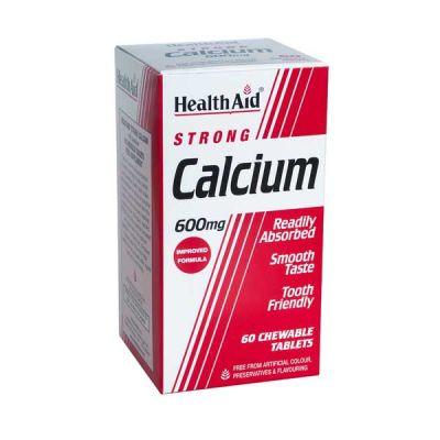 Health Aid Strong Calcium 600mg Για Προστασία Από Την Οστεοπόρωση 60 Μασώμενες Ταμπλέτες