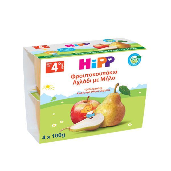 Hipp Φρουτοκουπάκια Φρουτόκρεμα Αχλάδι Με Μήλο 100gr 4τμχ 4Μ+