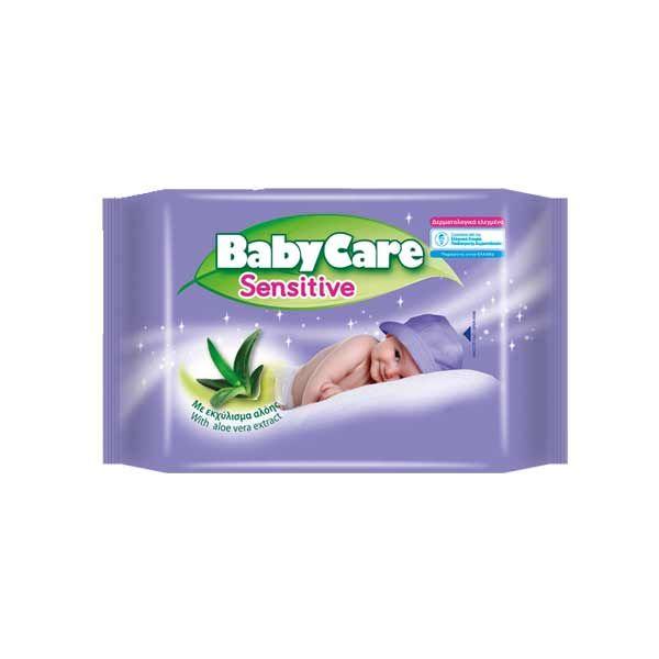 Babycare Sensitive Μωρομάντηλα Με Εκχύλισμα Αλόης Travel Pack 12τμχ