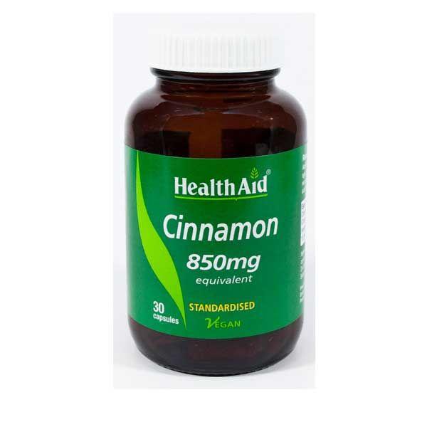 Health Aid Cinnamon 850mg Φυσική Βοήθεια Για Τον Διαβήτη Vegan 30 Κάψουλες