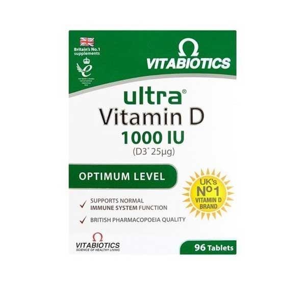 Vitabiotics Ultra Vitamin D D3 1000IU Συμπλήρωμα Διατροφής 96 Ταμπλέτες
