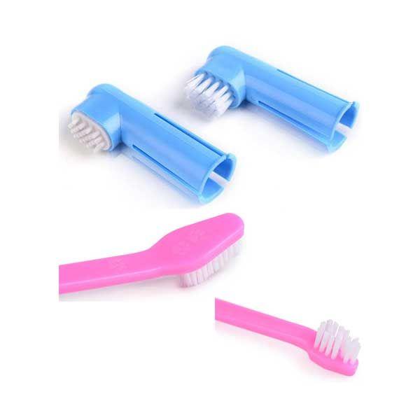 Pet Οδοντόβουρτσα Με Διπλή Λαβή  & Οδοντόβουρτσα Δαχτύλου Για Σκύλο 3τμχ
