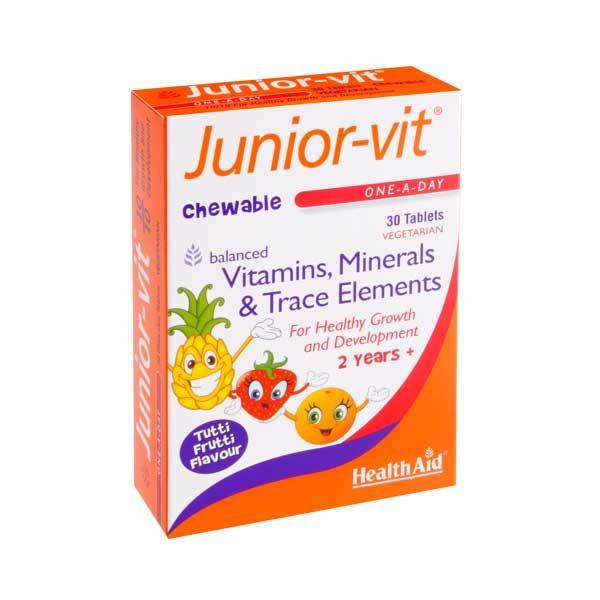 Health Aid Junior-vit Βιταμίνες & Μέταλλα Για Παιδιά Με Γεύση Φρούτων Vegeterian 30 Μασώμενες Ταμπλέτες
