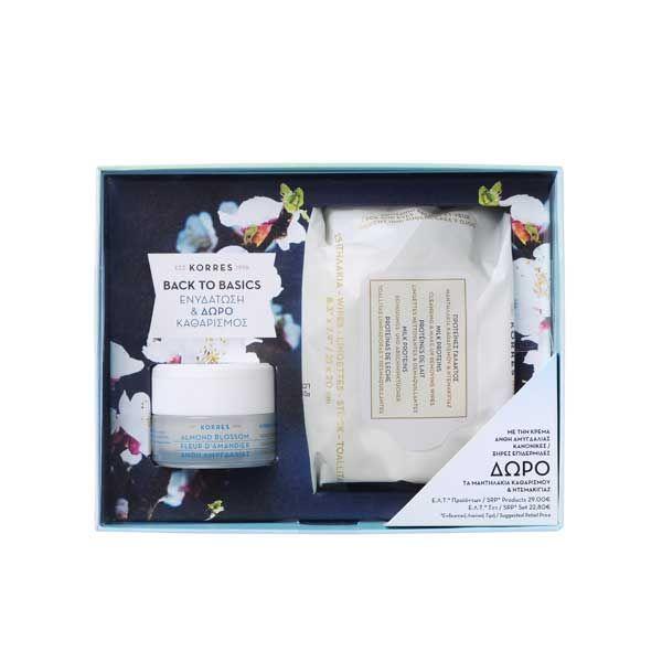 Korres Set Με Άνθη Αμυγδαλιάς Κρέμα Ενυδάτωσης Προσώπου Για κανονικό/Ξηρό Δέρμα 40ml & Δώρο Μαντηλάκια Καθαρισμού & Ντεμακιγιάζ Με Πρωτεΐνες Γάλακτος 25τμχ