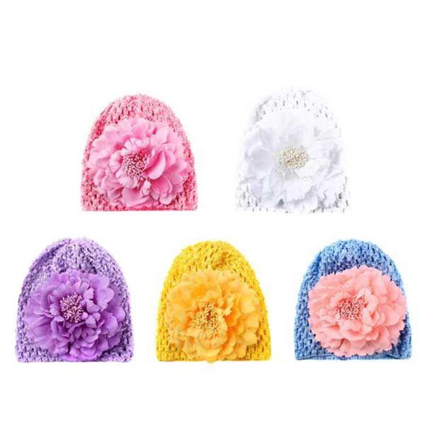 Mama-Baby Care Βρεφικό Σκουφάκι Με Λουλούδι Σε Διάφορα Χρώματα