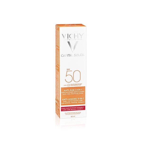 Vichy Capital Soleil Anti-Αgeing 3 Σε 1 Αντηλιακή, Αντιγηραντική Κρέμα Προσώπου Spf50+ 50ml