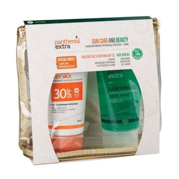 Panthenol Extra Set Με Sun Care Αντηλιακό Γαλάκτωμα Προσώπου/Σώματος Σpf30 150ml & Aloe Vera Τζελ Για Δροσιά & Ενυδάτωση 150ml & Δώρο Ένα Υπέροχο Νεσεσέρ
