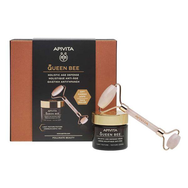 Apivita Queen Bee Set Με Kρέμα Ημέρας Προσώπου Ολιστικής Αντιγήρανσης Ελαφριάς Υφής Για Κανονικό/Μικτό Δέρμα 50ml & Δώρο Premium Face Roller